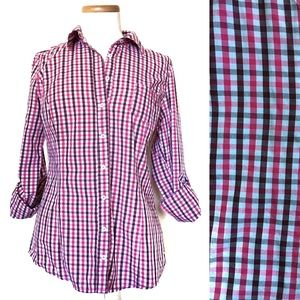 Guess Gingham Roll-Tab Sleeve Button Shirt L